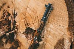 倾斜反对tr树干的二战苏联俄国步枪  库存照片