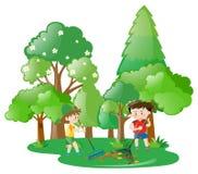 倾斜叶子的两个男孩在森林里 向量例证