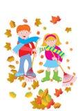 倾斜叶子的孩子 库存照片