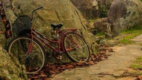 倾斜对岩石墙壁的一辆红色自行车 免版税库存图片
