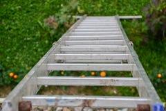倾斜对房子的墙壁的一架长的银色铝梯子的顶视图 关闭从高梯凳上面的看法  库存照片