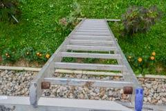 倾斜对房子的墙壁的一架长的银色铝梯子的顶视图 关闭从高梯凳上面的看法  免版税库存图片