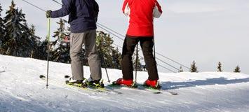 倾斜的滑雪者人在山 库存照片