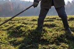倾斜草的老农夫 免版税库存图片