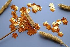 倾斜金黄叶子和麦子 免版税库存照片