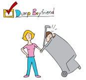 倾销男朋友的妇女入垃圾 库存照片