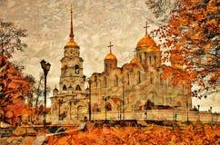 假定大教堂在弗拉基米尔,俄罗斯 艺术性的秋天拼贴画 免版税库存照片