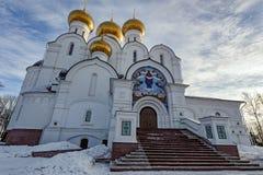假定大教堂,雅罗斯拉夫尔市,金黄圆环,俄罗斯 免版税图库摄影