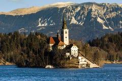 假定布莱德湖斯洛文尼亚的教会 免版税库存图片