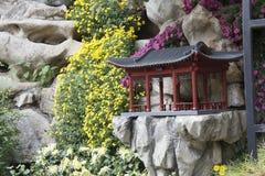 假山庭园在亭子 库存图片