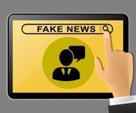 假新闻压片是计算机的消息被推挤的3d例证 库存照片