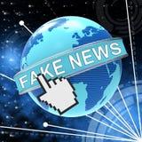 假新闻尖和地球映射3d例证 免版税库存图片