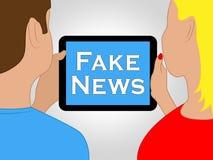 假新闻片剂显示供选择的事实3d例证 免版税库存照片