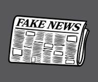 假新闻报纸,在背景填装和隔绝的白色 库存照片