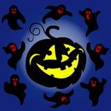 假日万圣夜,夜例证剪影,发光的pumpki 皇族释放例证