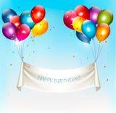 假日与五颜六色的气球的生日横幅 免版税图库摄影
