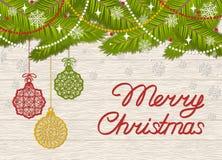 假日与文本圣诞快乐的贺卡 皇族释放例证