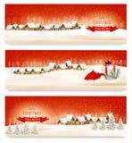假日与村庄的圣诞节横幅 免版税库存图片