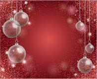 假日与红色闪闪发光的贺卡和现实transparen 向量例证