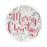 假日传染媒介字法,圣诞快乐 库存照片