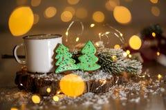 假日传统食物面包店 两块姜饼绿色圣诞节 库存照片