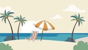 假日假期背景 与棕榈树的海边导航模板为做广告,旅行社,横幅,项目 免版税库存照片