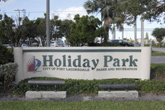假日公园入口标志 免版税图库摄影