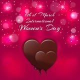 假日卡片与一红色心脏和熔化的巧克力题字国际妇女` s天3月8日 库存照片