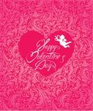 假日卡片有桃红色装饰花卉背景 免版税库存图片