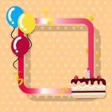 假日卡片,生日庆祝平的框架设计,蛋糕分开 皇族释放例证