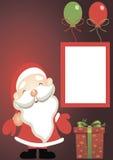 假日卡片-有礼物的圣诞老人 免版税图库摄影