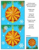 假日发现与装饰的装饰品的区别图片难题 库存图片