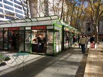 假日商店,布耐恩特公园的, NYC,美国冬天村庄 免版税图库摄影