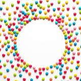 假日圈子框架用多彩多姿的糖果糖衣杏仁 免版税库存照片