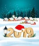 假日圣诞节背景与2019年和礼物盒 向量 皇族释放例证