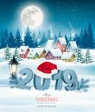 假日圣诞节背景与2019年 库存例证