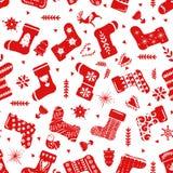 假日庆祝斯堪的纳维亚北欧样式的红色简单的圣诞节长袜 圣诞节,新年装饰 无缝 皇族释放例证