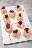 假日开胃菜用蔓越桔、咸味干乳酪和麝香草 免版税库存图片