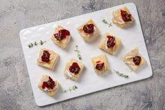 假日开胃菜用蔓越桔、咸味干乳酪和麝香草 库存照片