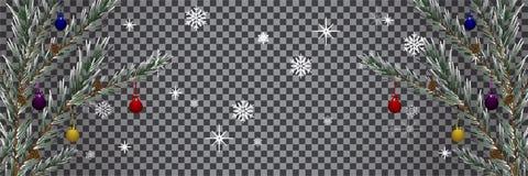 假日拟订与圣诞树背景透明度 向量例证