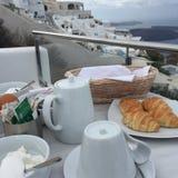 假日早餐浪漫破火山口视图 库存图片