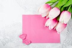假日明信片为华伦泰` s天或生日 库存图片
