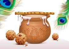 假日标志克里希纳Janmashtami 罐酸奶、孔雀羽毛、长笛和甜点 向量例证