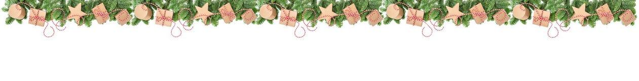 假日横幅圣诞节装饰礼物盒 库存图片