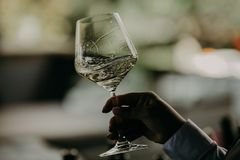 假日欢呼用香槟和酒的事件人 免版税库存图片