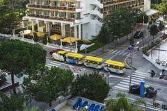 假日游客的布拉内斯,西班牙旅游机车 免版税库存图片
