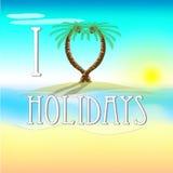 假日的例证在海滩的与爱棕榈树 免版税库存照片