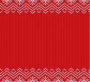 假日编织了与空的空间的红色装饰品设计文本的 无缝圣诞节的模式 向量例证