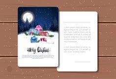 假日贺卡在夜冬天森林风景背景明信片的圣诞快乐文本在木纹理 图库摄影