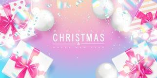 假日贺卡的,海报,横幅圣诞快乐和新年快乐时髦背景 礼物盒,圣诞节 向量例证